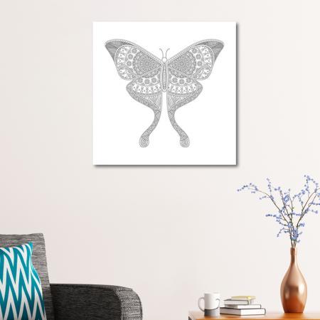 Kelebek Desenli Boyanabilir Tablo resim2