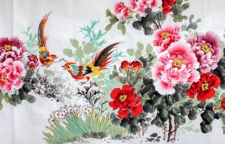 Kuşlar ve Çiçekler resim