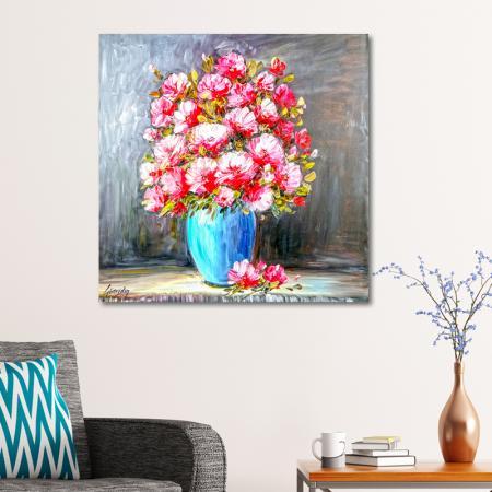Mavi Vazo Pembe Çiçekler resim2