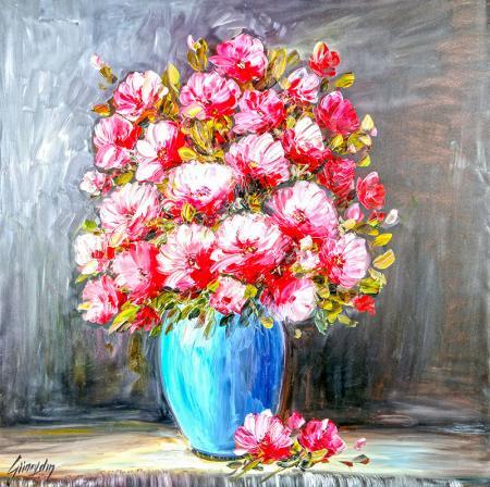 Mavi Vazo Pembe Çiçekler resim