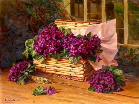 Mor Çiçek Sepeti resim