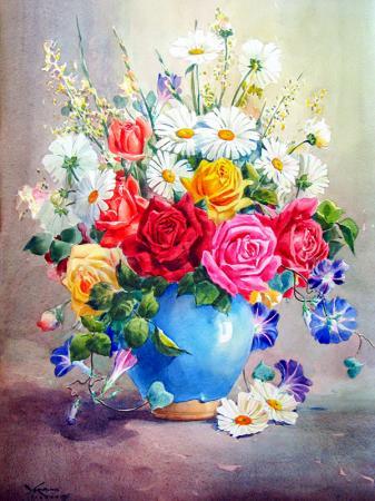 Papatyalar ve Güller resim