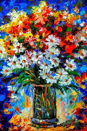 Papatyalar ve Renkli Bahar Çiçekleri 0