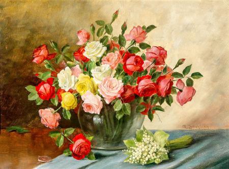 Pembe ve Kırmızı Güller resim