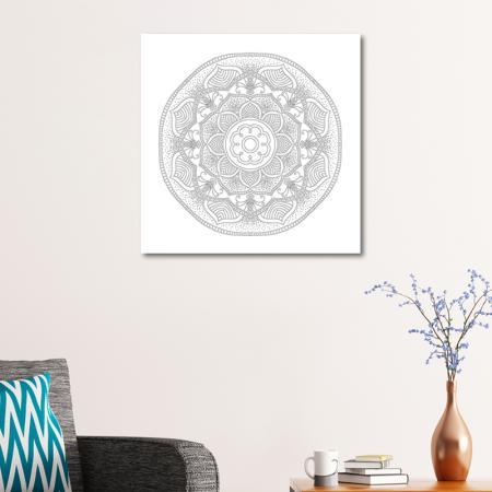 Radyal ve Floral Desenli Mandala Tablosu resim2