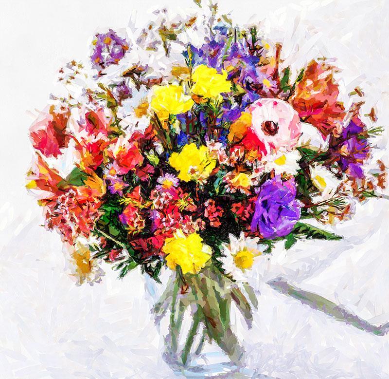 Rengarenk çiçek Buketi Tablosu Yağlıboya çiçek Tablosu çiçek