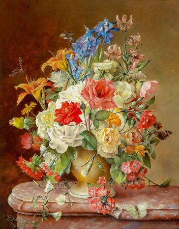 Rengarenk Çiçekler ve Kelebekler resim