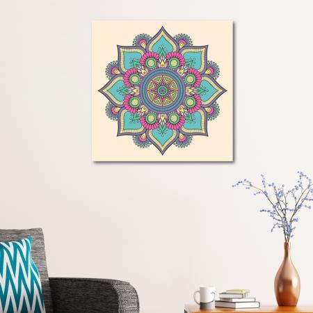 Renkli Çiçek Desenli Mandala Tablosu resim2