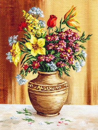 Vazodaki Renkli Çiçekler resim