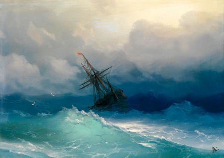 Fırtınalı Denizde Gemi resim