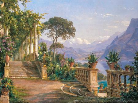 Como Gölünde Bir Teras resim