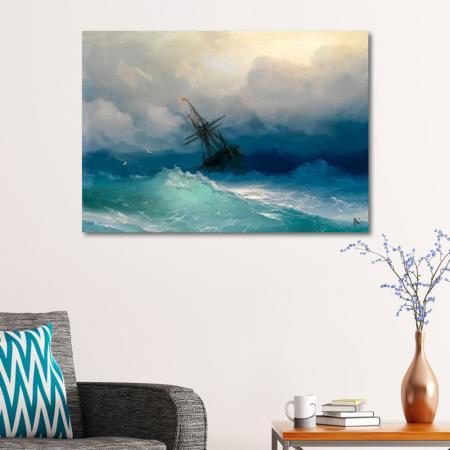 Fırtınalı Denizde Gemi resim2