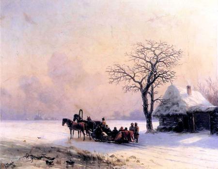 Küçük Rusya'da Kış Manzarası resim